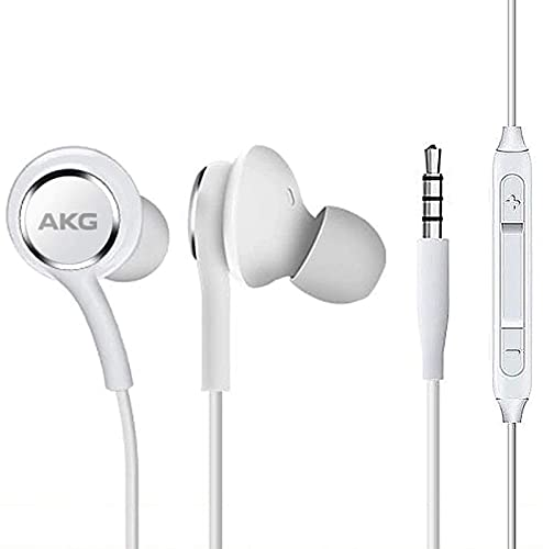 OEM UrbanX 2019 Stereo Headphones for Samsung Galaxy S10 S10e Plus Braided Cable - Designed by AKG - with Microphone and Volume Buttons (White)
