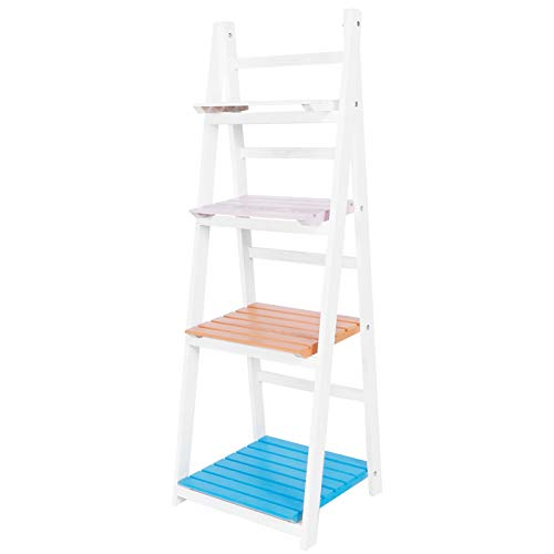GOTOTOP Estantería de escalera para salón, estantería de escalera plegable, librería de 4 estantes, estante de...