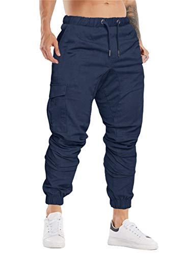 Cindeyar Herren Hosen Slim Fit Casual Jogger Sporthose Freizeithose Cargo Chino Jeans Hose (Navyblau 01,XL)