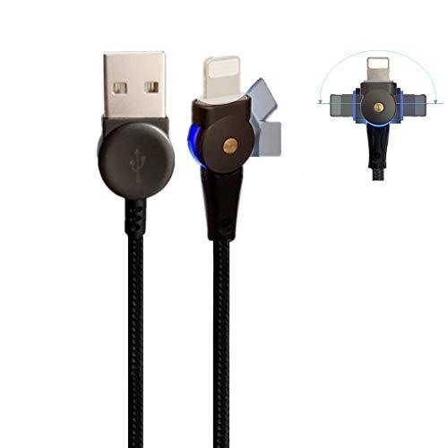 MCDODODO Cavo girevole LED Li Tning, 90 gradi di rotazione cavo di ricarica cavo dati di ricarica 180 gradi cavo di alimentazione Titan compatibile con IP 11 X XR 8 7 6 Plus (2,0 m)