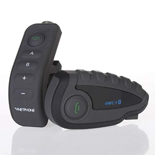 OKEU V8 Motorcycle Intercomunicador Bluetooth 3.0 con Handlebar Remote Controller/FM/NFC/ 5 Pasajeros Full Duplex Rango 1200m/Modo De Espera 240H/Sistema de Comunicación de Motocicleta