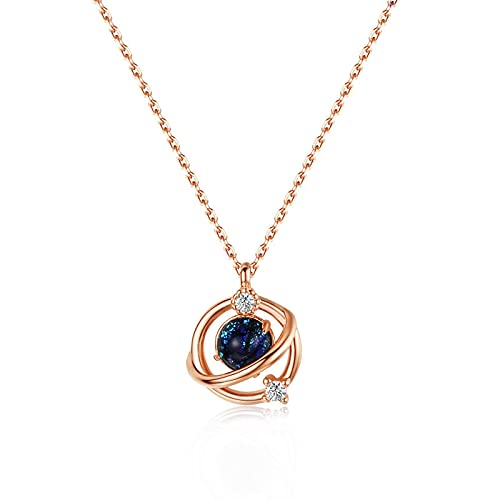 Collares para mujer 925 plata esterlina Zircon planeta colgante collar de oro rosa