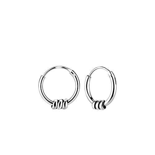 Bali Rope - Pendientes de aro de plata de ley, 10 mm