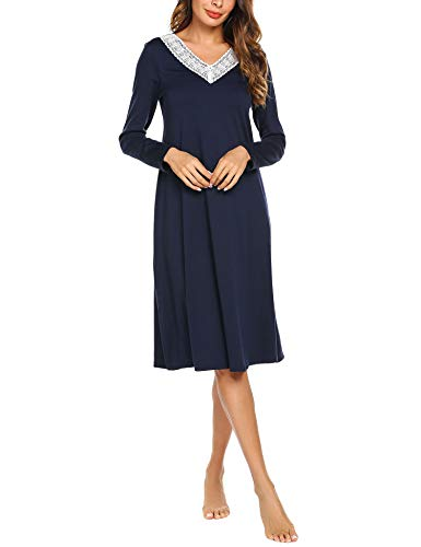 ADOME Damen Lang Nachthemd Langarm Sleepwear Spize am V-Ausschnitt Nachtkleid Still A-Linie Schlafkleid Casual Nachtwäsche Baumwolle Herbst Unterkleid