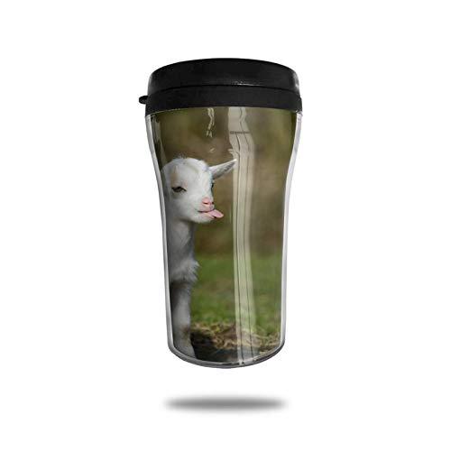 Funny Baby Goat Smile Moment Taza de café de viaje Impresa en...