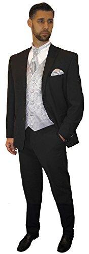 Paul Malone Anzug Hochzeitsanzug Set 7tlg -Stretch- Schwarze Schattenstreifen + Hochzeitswesten Set Silber Paisley + Hochzeitshemd weiß