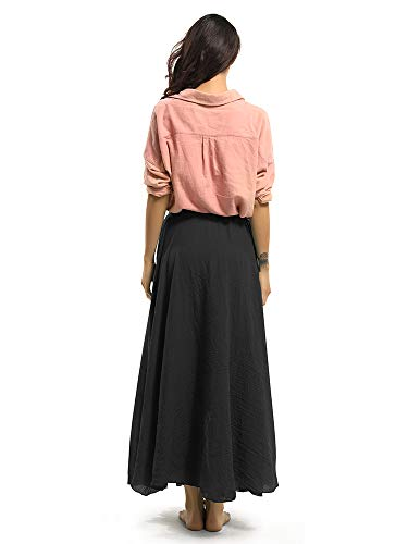 OCHENTA Women's Bohemian Style Elastic Waist Band Cotton Long Maxi Skirt Black 85cm