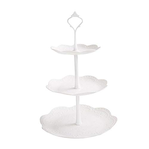 3 Tier Cupcake Stand, Plastic Tiered Serving Stand, Dessert Fruit Snack Tower Tray for Wedding Home Birthday Tea Party Baby Shower, White