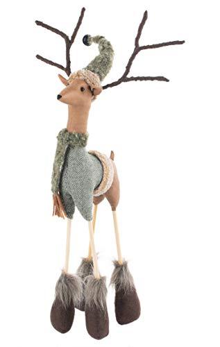SoHearted | Casey Reindeer - 17.5 Inches | Handmade Christmas Reindeer Decoration Fabric Stuffed Figurine