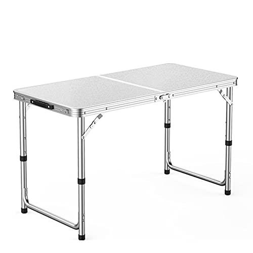 JSMY 4 pies Mesa Plegable,Mesa de Picnic Medio Plegable,3 Tipos de Altura Ajustable,Universal para Interiores y Exteriores
