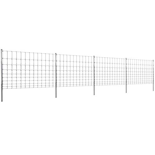 BIGTO Garden Step-In Fence with Posts Galvanized and Zinc-coated Iron 50 m 120/10/30,Fence post Total height: 170 cm