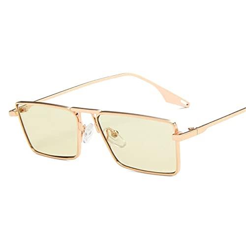 Gafas de sol de mujer marca de lujo marco de metal gafas de sol rectangulares gafas de conducción Street Shooting gafas