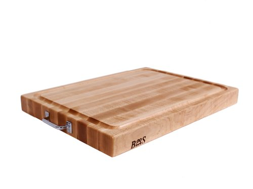 John Boos Block RAFR2418 Reversible Maple Edge Grain Cutting Board with Juice Groove and Chrome Handles, 24 Inches x 18 Inches x 2.25 Inches