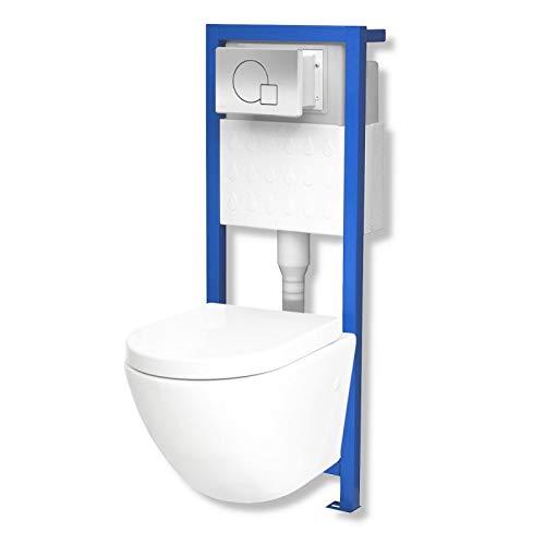 Domino Lavita Vorwandelement inkl. Drückerplatte + Wand-WC Sofi ohne Spülrand + WC-Sitz mit Soft-Close Absenkautomatik Drückerplatte MS (mattverchromt)