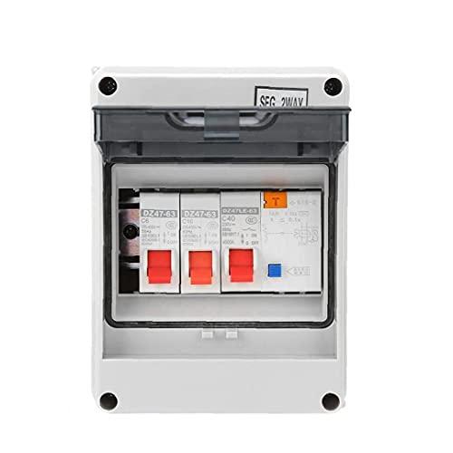 RRunzfon Panel de interruptores de la Unidad de Consumo, 2 Mini tableros de fusibles de protección de Fugas, 40A 30MA RCD 2 MCB 6A + 16A