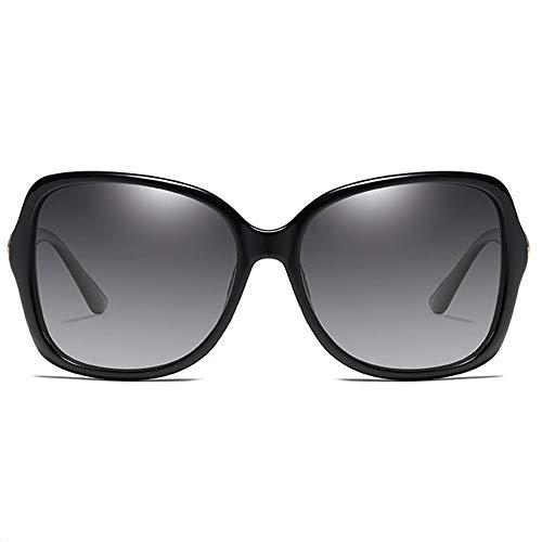 TYXL Sunglasses Clásico Nuevo Material for PC De Moda UV400 Gafas De Sol Negro/Azul Lente Marco Negro Modelos Femeninos Gafas De Sol De Conducción (Color : Black)