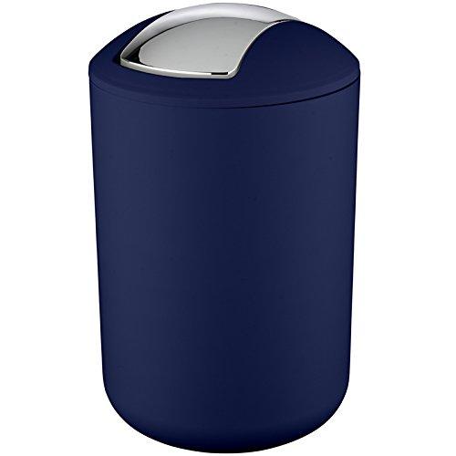 Wenko Kosmetikeimer Brasil L 6,5 Liter, Badezimmer-Mülleimer mit Schwingdeckel, Abfalleimer aus bruchsicherem Kunststoff, Ø 19,5 x 31 cm, dunkelblau