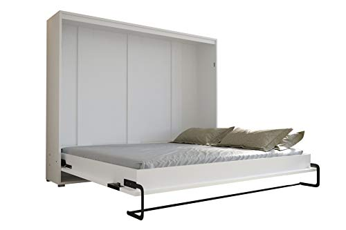 KRYSPOL Bett im Schrank Home, Ebenen, Schlafzimmer, Jugenzimmer, Modern Design (weiß + grau glänzend, 160 x 200 cm)