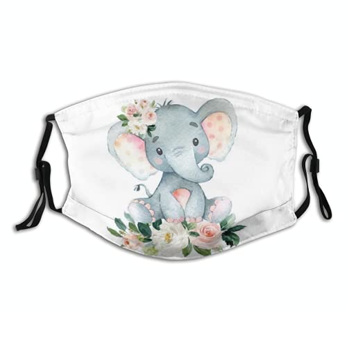 Cute Little Elephant Face Mask Washable With 2 Pcs Filters, Reusable Blush Pink Floral Face Cover With Filter Pocket for Women Men