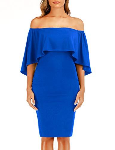 Haola Women's Off Shoulder Batwing Shoulder Cape Party Midi Dress Stretchy Pencil Dress Blue XL