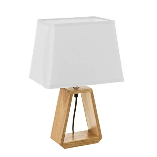 Lámpara de mesita de noche nórdica de madera marrón de 41x12x26 cm ✅