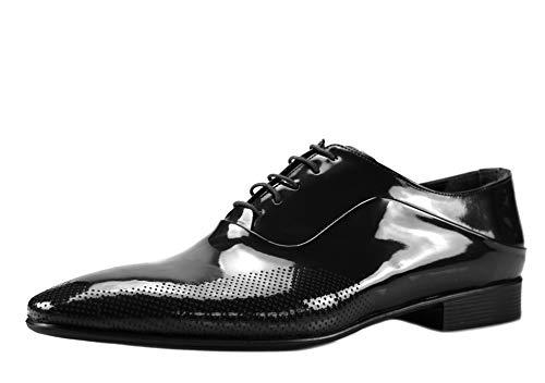 CAPRIUM Lackschuhe Derbyschuhe Schuhe Business Glänzend, Herren E1526 Farbe Schwarz, Schuhgröße 45