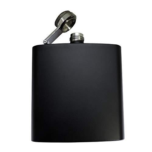 Flachmann schwarz 180 ml mit SOFORTGRAVUR + VORSCHAU: Gravur 1 Name oder Datum auf der Vorderseite inklusive