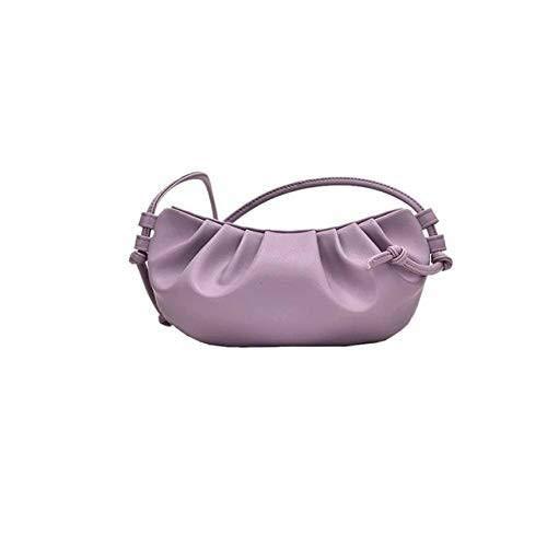 Mini púrpura envuelto en nubes suave cuero Madame pequeño bolso de hombro único inclinado bolsa de bola de bola de mano de día embrague bolsas