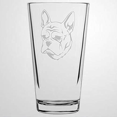 Bicchieri da birra a tema bulldog francese con incisione da pinta da 453,6 g, bicchieri trasparenti multiuso per pub, bar, feste, cene