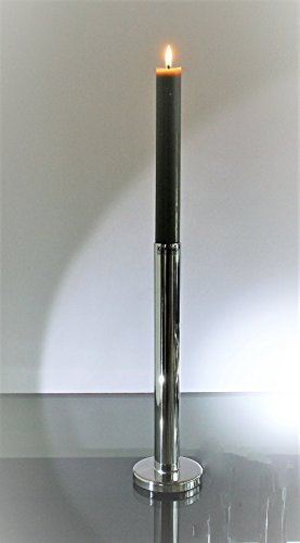 Kaheku Kerzenleuchter Reto für Stabkerzen Ø 7,5, H 25 cm, Kerzenständer Silber Edelstahl