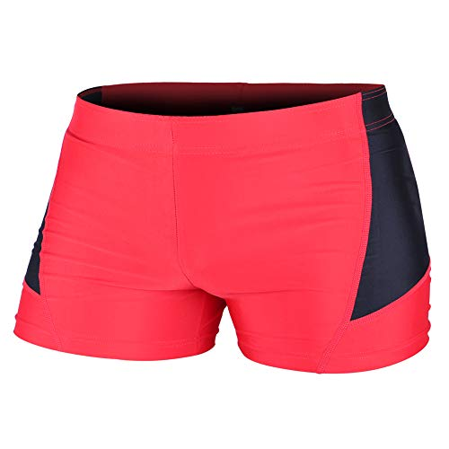 Muscle Alive Mens Bodybuilding Shorts Tights Polyester and Spandex Size M Plain Red with Black