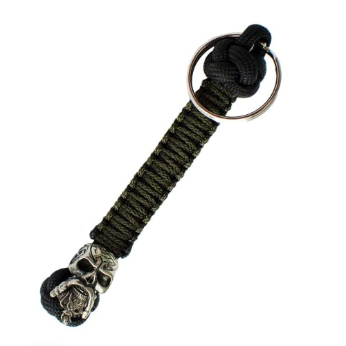 Handmade Paracord Lanyard Keychain - Celtic Skull - Custom EDC Lanyards for Knife - Unique Paracord Keychains for Men - 5 Inch
