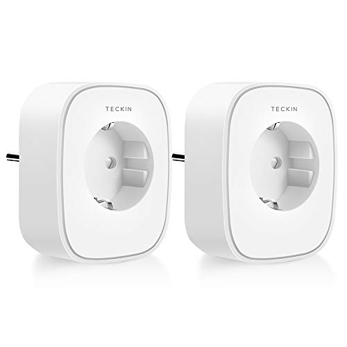 TECKIN WLAN Smart Steckdose, Alexa Steckdose 2er Pack, Smart Home Steckdosen 16A Stromverbrauch Messen, Fernbedienbar mit Sprachsteuerung, Funktionieren mit Google Home und Alexa, NUR auf 2.4 GHz