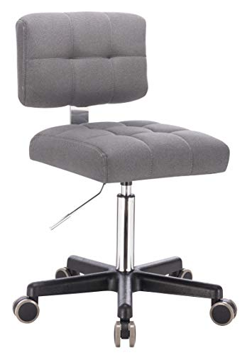 1stuff® Rollhocker LEHNO mit Rückenlehne - Sitzhöhe bis ca. 67cm - bis 150kg - Drehhocker Praxishocker Arbeitshocker Arzthocker Kosmetikhocker Bürohocker Bürostuhl (Stoff grau)