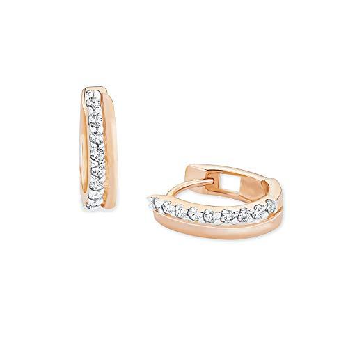 amor Pendientes de aro para mujer de plata de ley 925 chapada en oro rosa con circonitas blancas