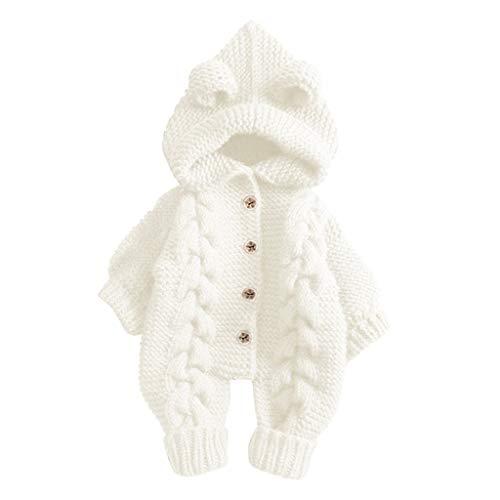 Livoral Warmer Manteloverall des Babys mit Kapuze Strickjacke des neugeborenen Babywinters(Weiß,3-6 Monate)
