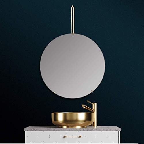 Round Wall-mounted Nordic Luxury Bathroom Vanity Mirror Decorative Mirror for Bathroom Makeup Dressing and Living Room - Gold (Size : 50cm) (70cm)