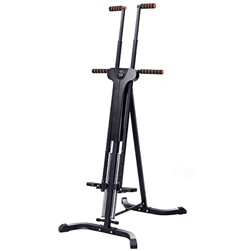 Goplus Vertical Climber Folding Stepper Climbing Exercise Machine w/Adjustable Height LCD Display Cardio Climbing System Home Gym (5 Adjustable Height)