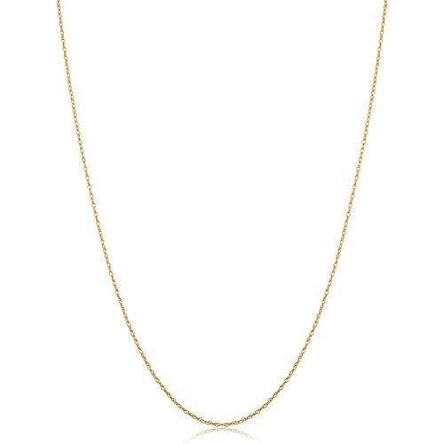 10k Yellow Gold Rope Chain Pendant Necklace (0.7 mm, 18 inch)