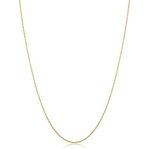 Kooljewelry 14k Yellow Gold Lightweight Thin Rope Chain Necklace (0.7 mm THIN, 16 inch)