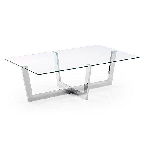 Kave Home - Tavolino rettangolare Plam 120 x 70 cm con piano in vetro e gambe in acciaio cromato
