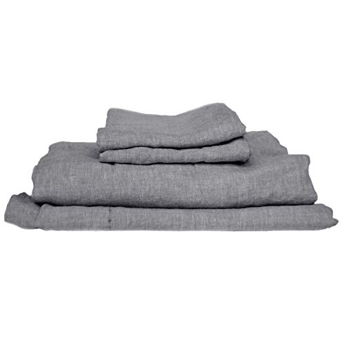 Coyuchi Organic Linen Chambray Sheet Set (Cal King, Charcoal)