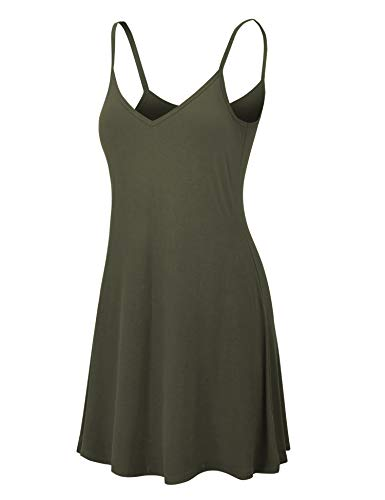 Lock and Love LL WDR1090 Womens V Neck Spaghetti Strap Tunic Short Dress XL Olive