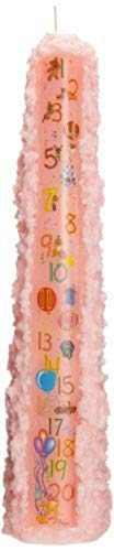 Biedermann & Sons CP241PK Baby Shower Birthday 1 to 21 Pillar Candle, Peach, 15-Inches Tall