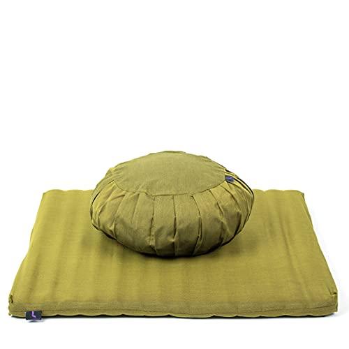 Leewadee Set da Meditazione con Fodera: Cuscino Zafu e Tappetino Zabuton per Yoga e Meditazione, materassino Tailandese in kapok Naturale, Verde