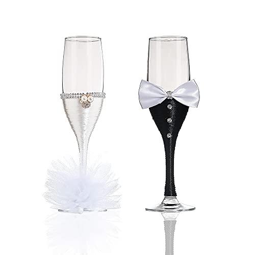 Copas de champán de cristal para bodas, sin plomo, con tallo de diamante transparente, para tostadas, fiestas de cumpleaños, aniversarios, regalos de boda o ocasiones especiales (juego de 2)
