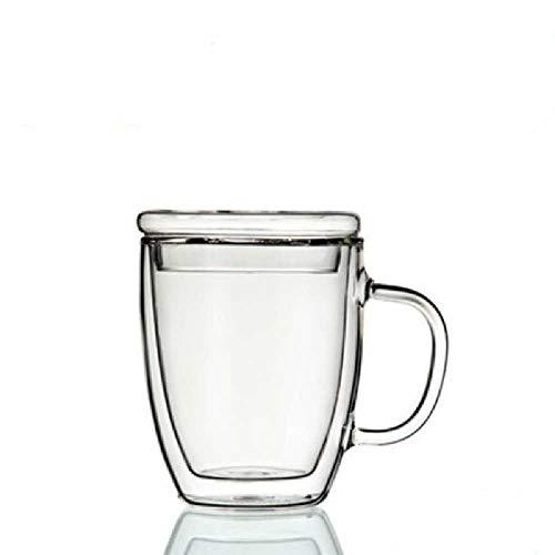 LaiPing Glazen Koffiekop Glazen Waterkop Hittebestendige Dubbellaagse Mok Met Deksel Glas Transparant Koffiekopje 375 ml/Transparant