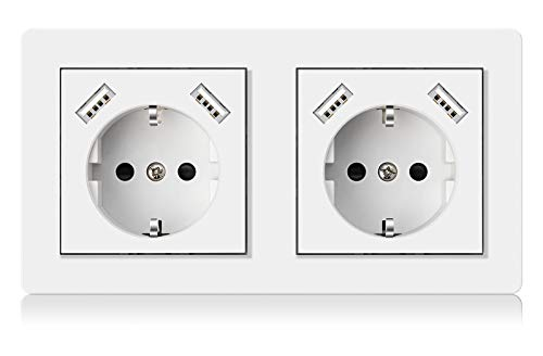 Altopbum Enchufe de Pared Doble con USB Schuko Toma de Corriente Alterna Pared Enchufe Superficie USB para Marco para Dormitorio, Cocina, Oficina, Hotel