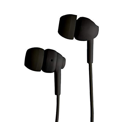 SBS in-ear hoofdtelefoon met kabel, koptelefoon met microfoon en rubberen pads, zwarte koptelefoon voor smartphone, mobiele telefoon & PC, draadloze koptelefoon