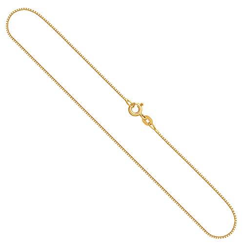 Edle Damen Gold Halskette 0,7 mm, Venezianerkette 585 aus Gelbgold, Echt Gold Kette mit Stempel, Goldkette mit Federringverschluss, Länge 36 cm, Gewicht ca. 1,4 g, Made in Germany